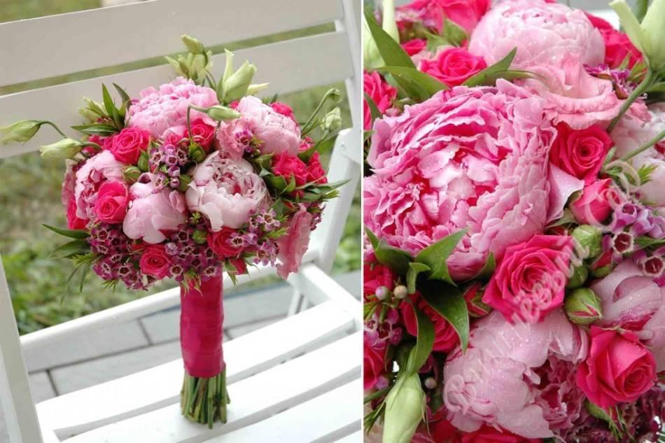 Букет невесты из пионов с фото: нежный, маленький или яркий с красными, белыми, розовыми, бордовыми, фиолетовыми бутонами, свадебные композиции с фрезиями, зеленью